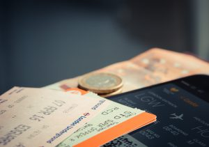 orange and green label ticket