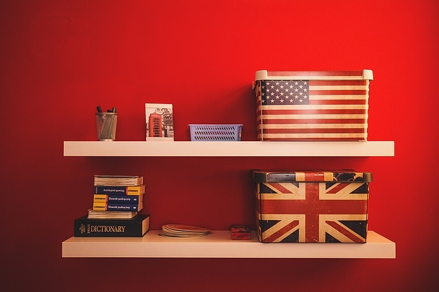 shelves with american and british flags